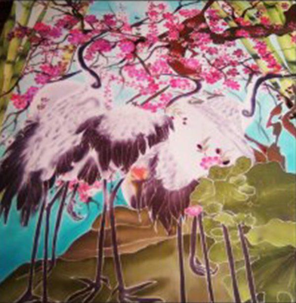 genoveva hita- creadora textil - cuadro seda - garzas