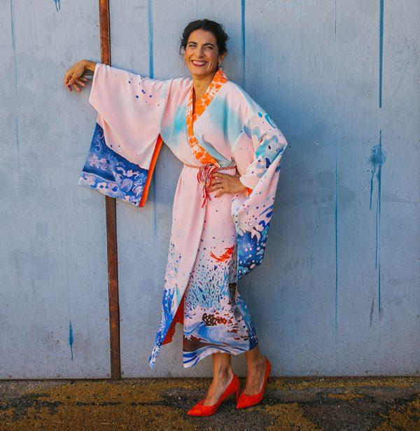 genoveva hita- creadora textil - silk kimono - agua