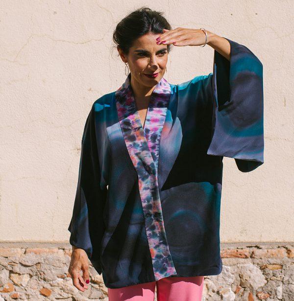 genoveva hita- creadora textil - silk kimono - anochecer