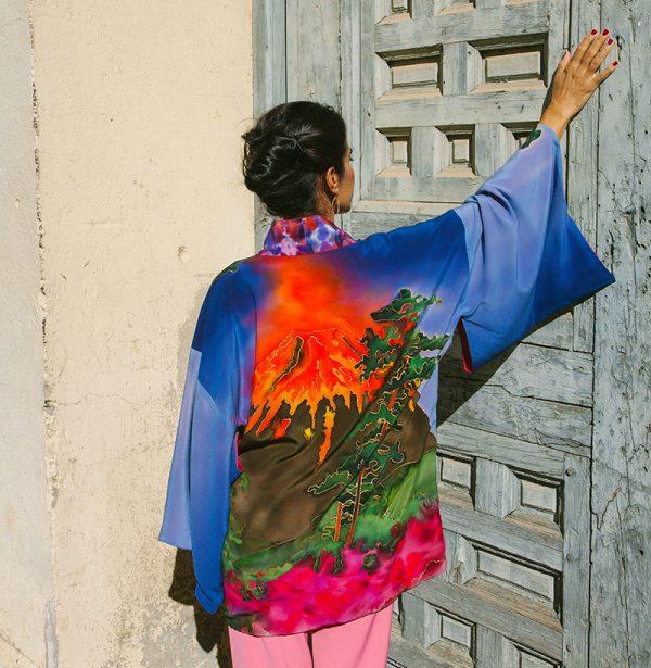 genoveva hita- creadora textil - silk kimono - fuego
